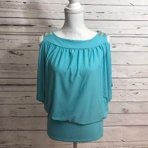 🌹J & L embellished cutout shoulder top, sky blue